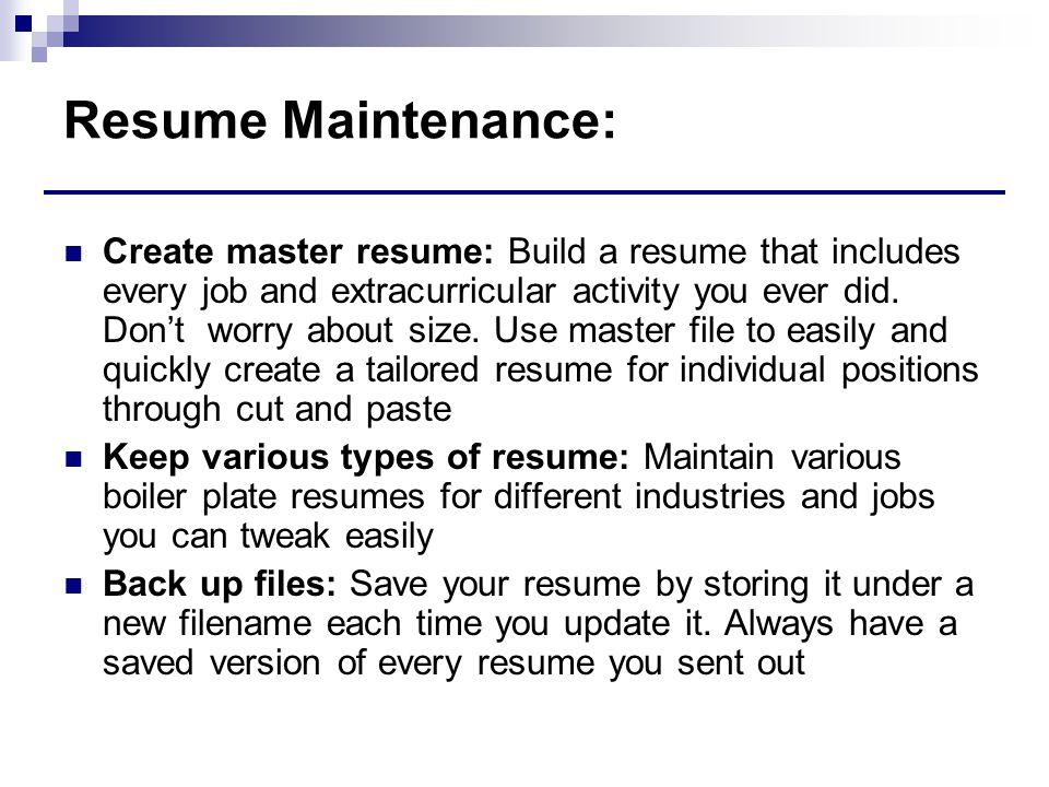 Resume Maintenance: