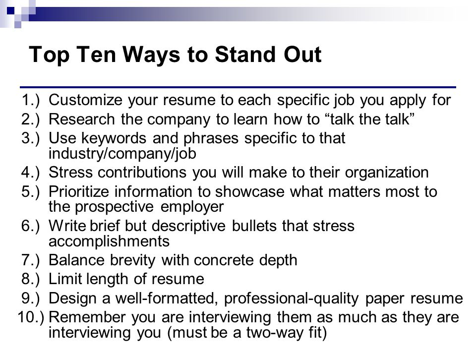 Top Ten Ways to Stand Out