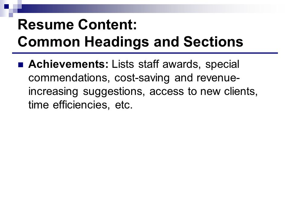 Resume Content: Common Headings and Sections