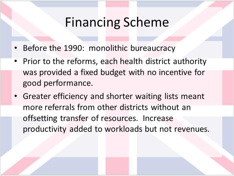 Financing Scheme Before the 1990: monolithic bureaucracy