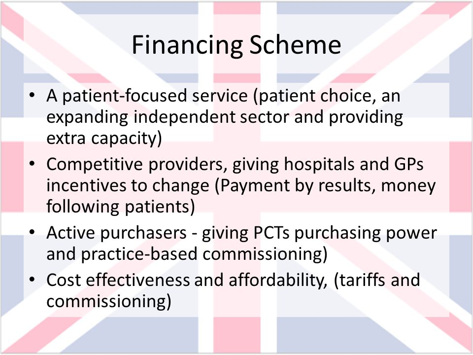 Financing Scheme A patient-focused service (patient choice, an expanding independent sector and providing extra capacity)