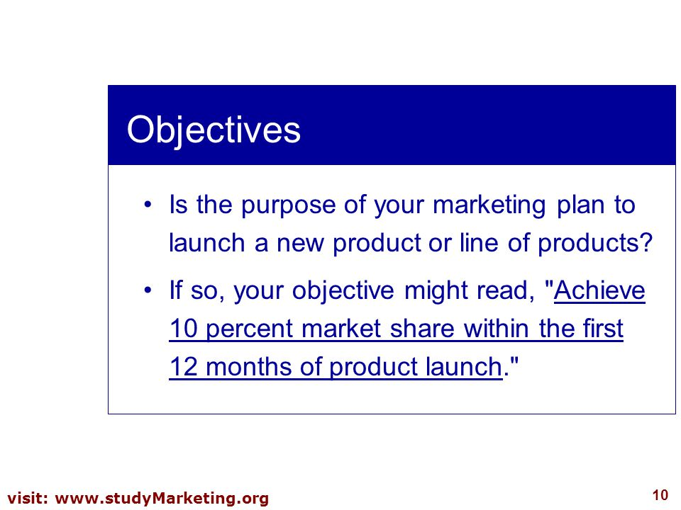Objectives Is the purpose of your marketing plan to launch a new product or line of products
