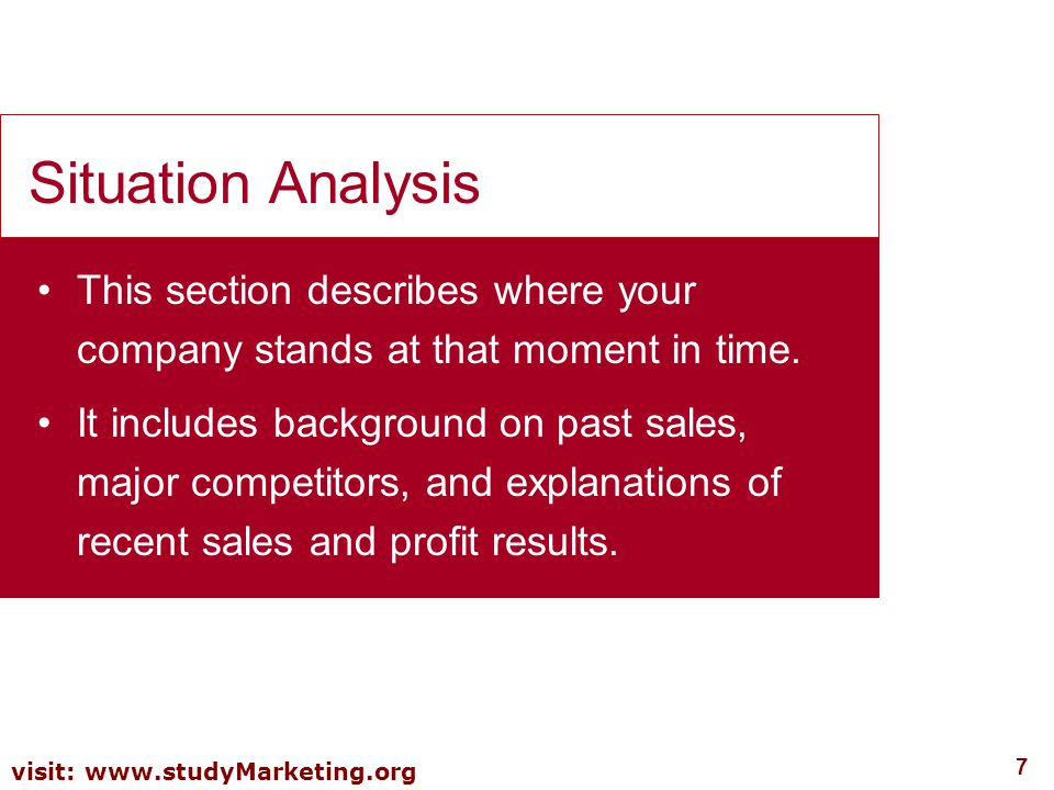 Situation Analysis This section describes where your company stands at that moment in time.