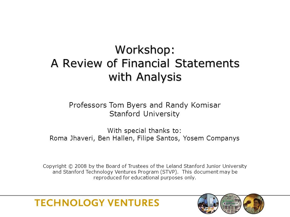 Workshop: A Review of Financial Statements with Analysis