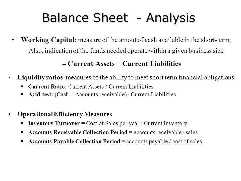 Balance Sheet - Analysis