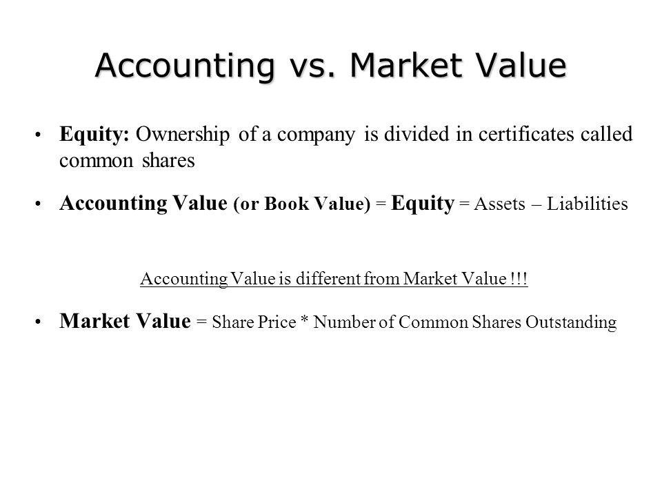 Accounting vs. Market Value