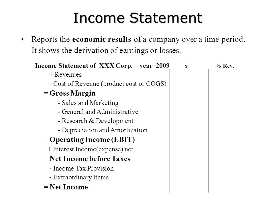 Income Statement Reports the economic results of a company over a time period. It shows the derivation of earnings or losses.