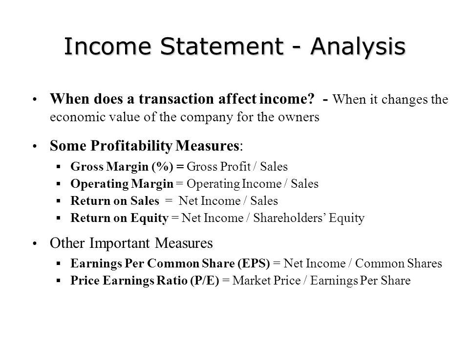 Income Statement - Analysis