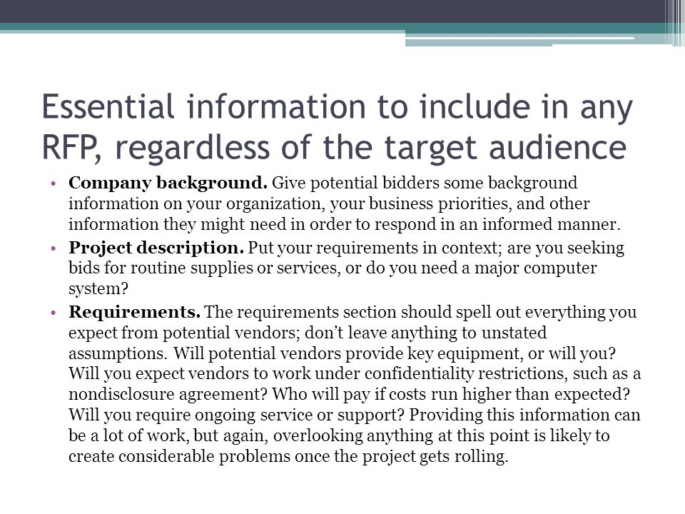 Essential information to include in any RFP, regardless of the target audience