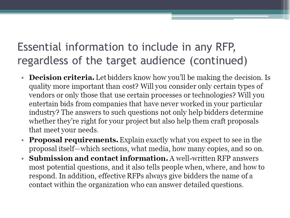 Essential information to include in any RFP, regardless of the target audience (continued)