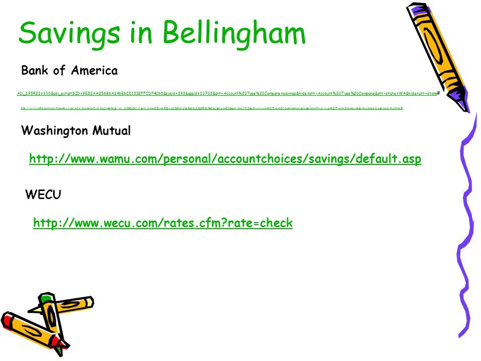 Savings in Bellingham Bank of America Washington Mutual