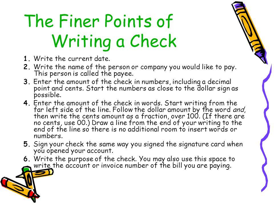 The Finer Points of Writing a Check