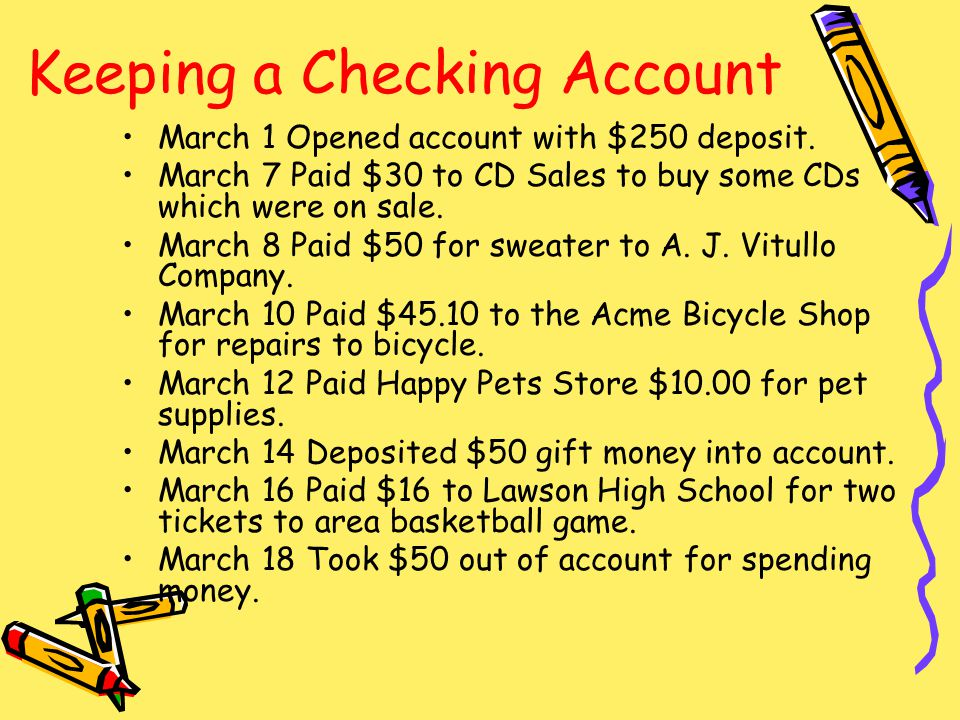 Keeping a Checking Account