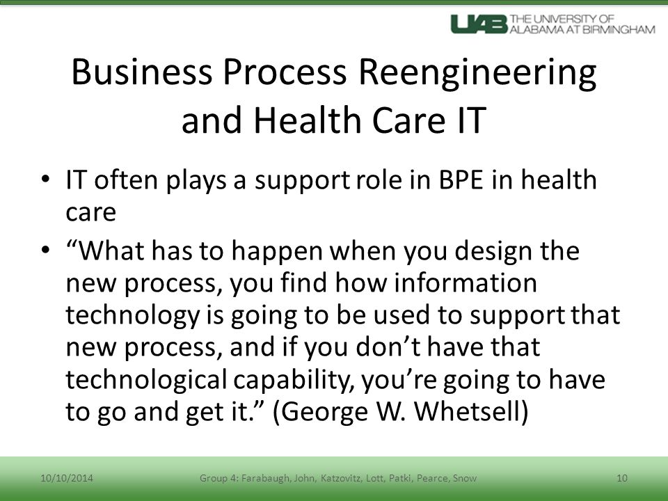 Business Process Reengineering and Health Care IT
