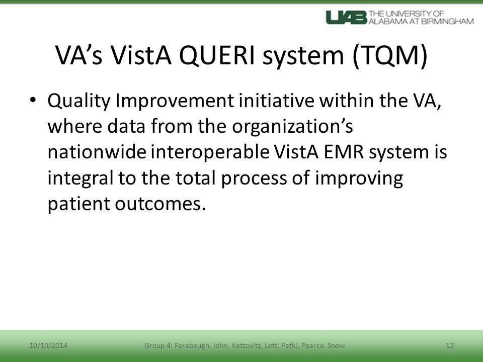 VA's VistA QUERI system (TQM)