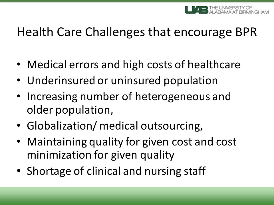 Health Care Challenges that encourage BPR
