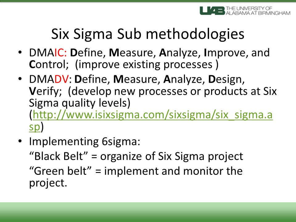 Six Sigma Sub methodologies