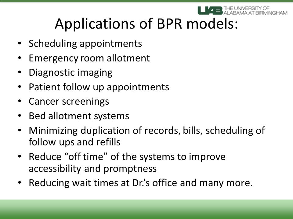 Applications of BPR models:
