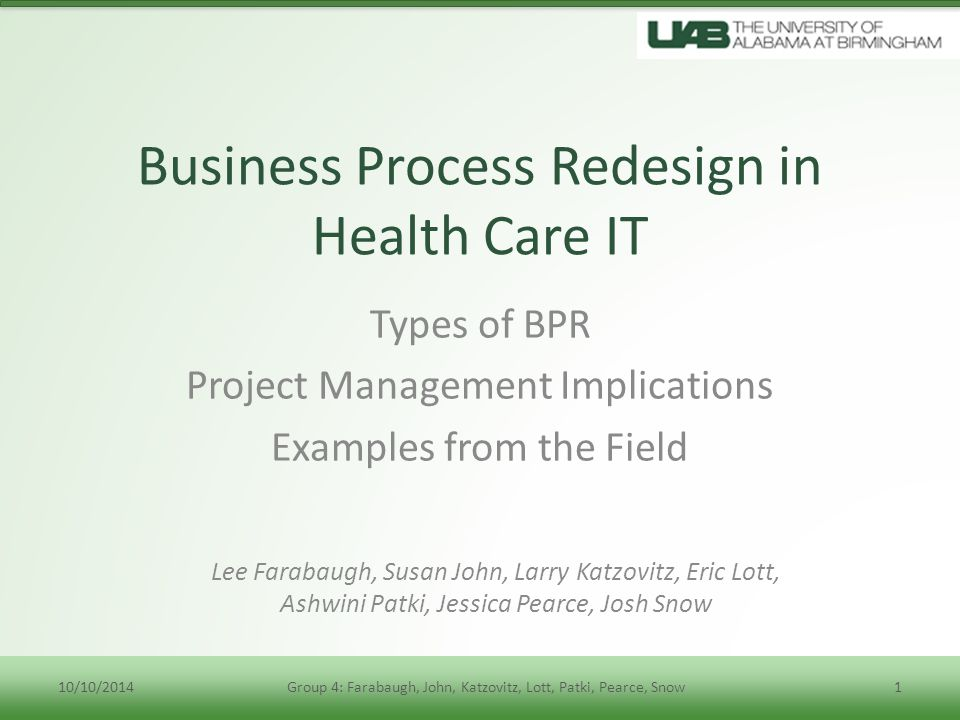 Business Process Redesign in Health Care IT