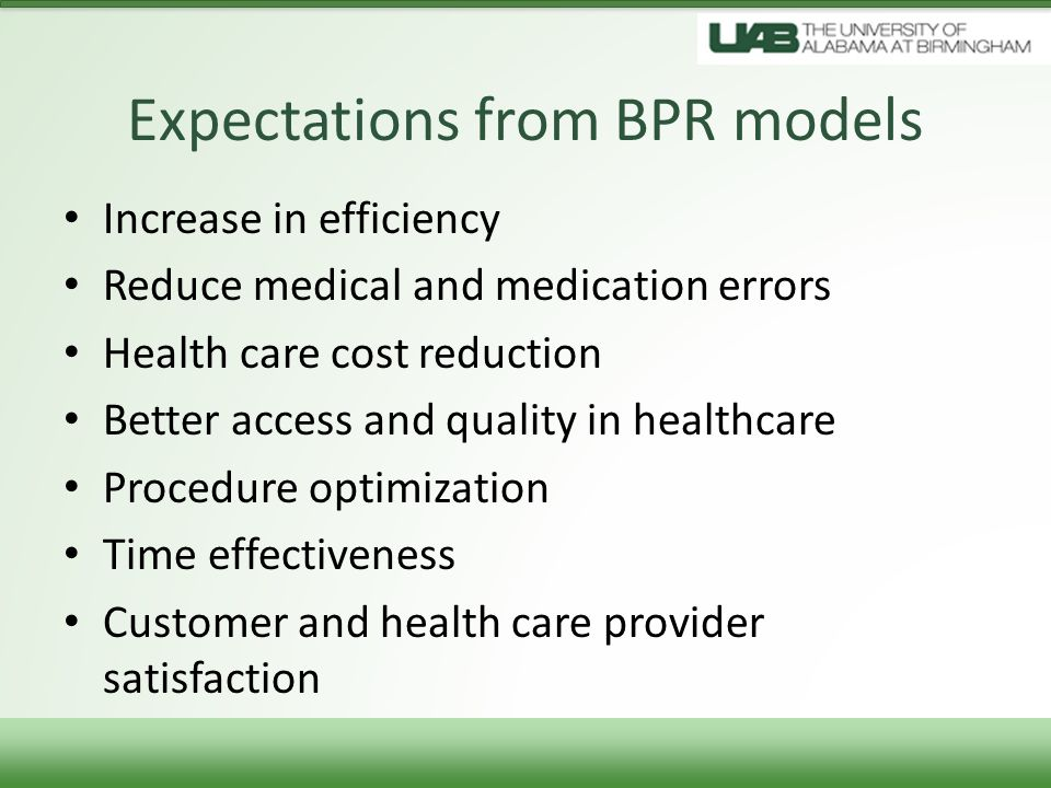 Expectations from BPR models