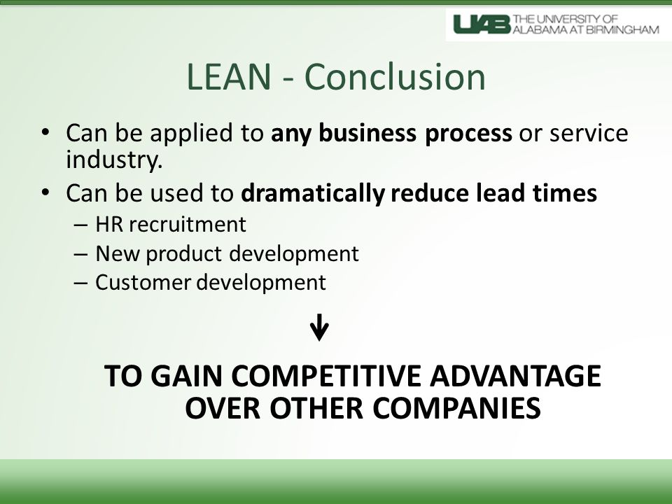 TO GAIN COMPETITIVE ADVANTAGE OVER OTHER COMPANIES