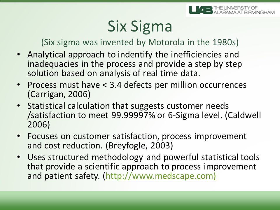 Six Sigma (Six sigma was invented by Motorola in the 1980s)