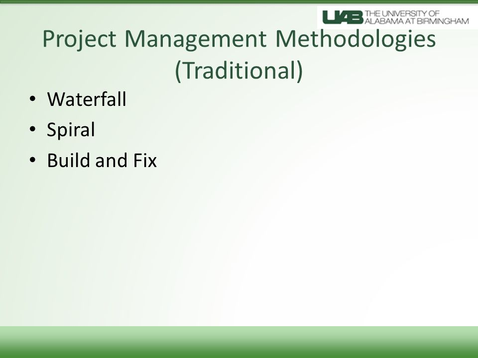 Project Management Methodologies (Traditional)