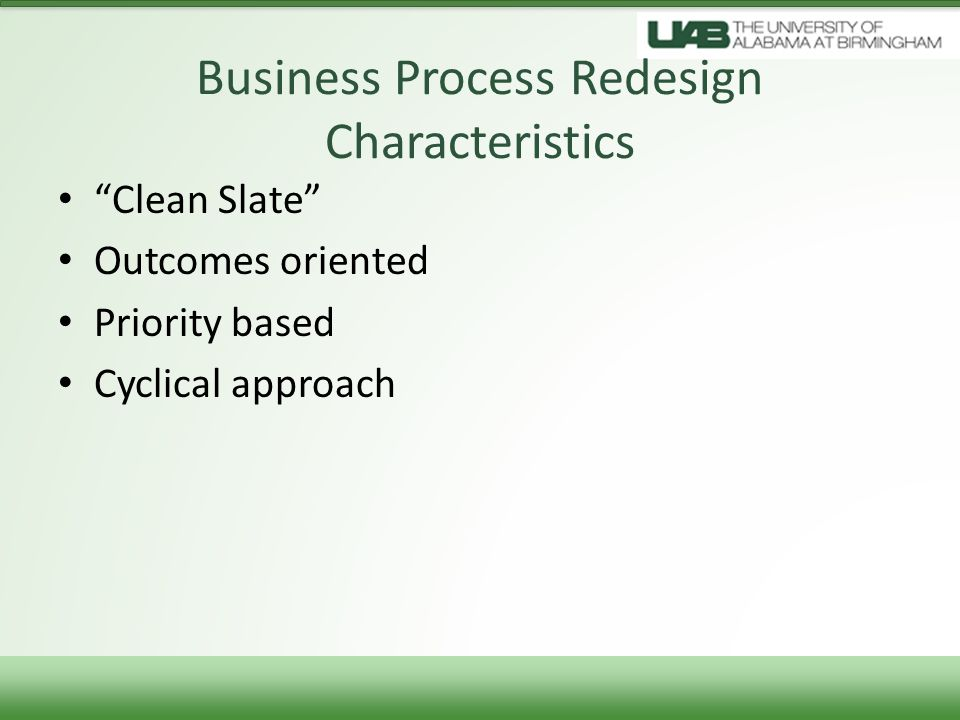 Business Process Redesign Characteristics