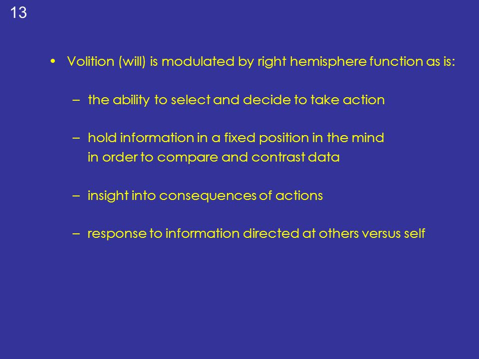 Volition (will) is modulated by right hemisphere function as is: