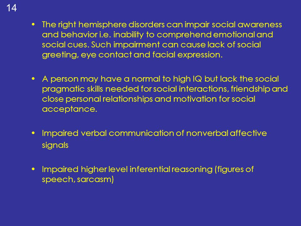 The right hemisphere disorders can impair social awareness and behavior i.e. inability to comprehend emotional and social cues. Such impairment can cause lack of social greeting, eye contact and facial expression.