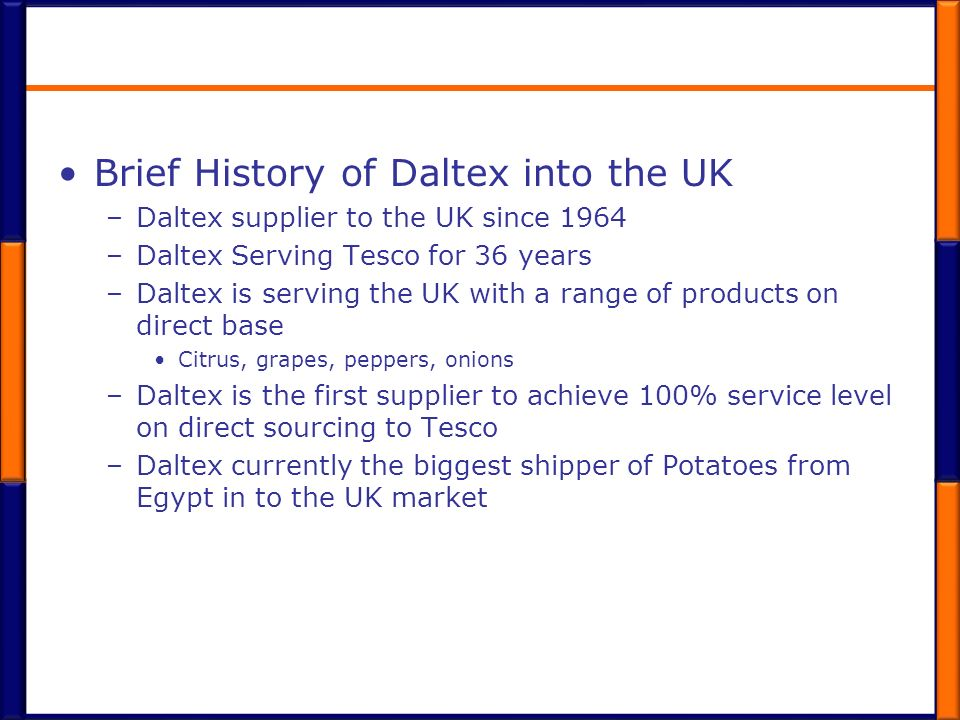 Brief History of Daltex into the UK
