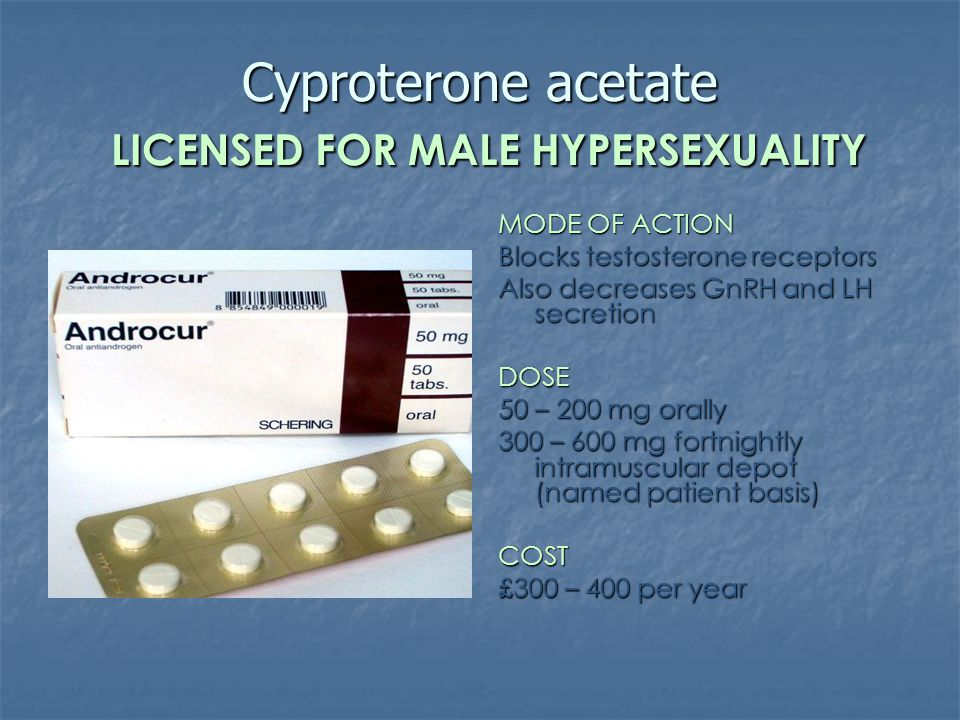 Cyproterone acetate LICENSED FOR MALE HYPERSEXUALITY