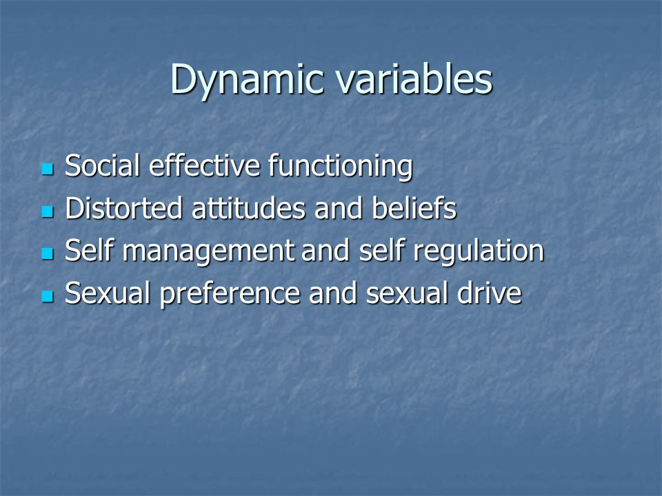 Dynamic variables Social effective functioning