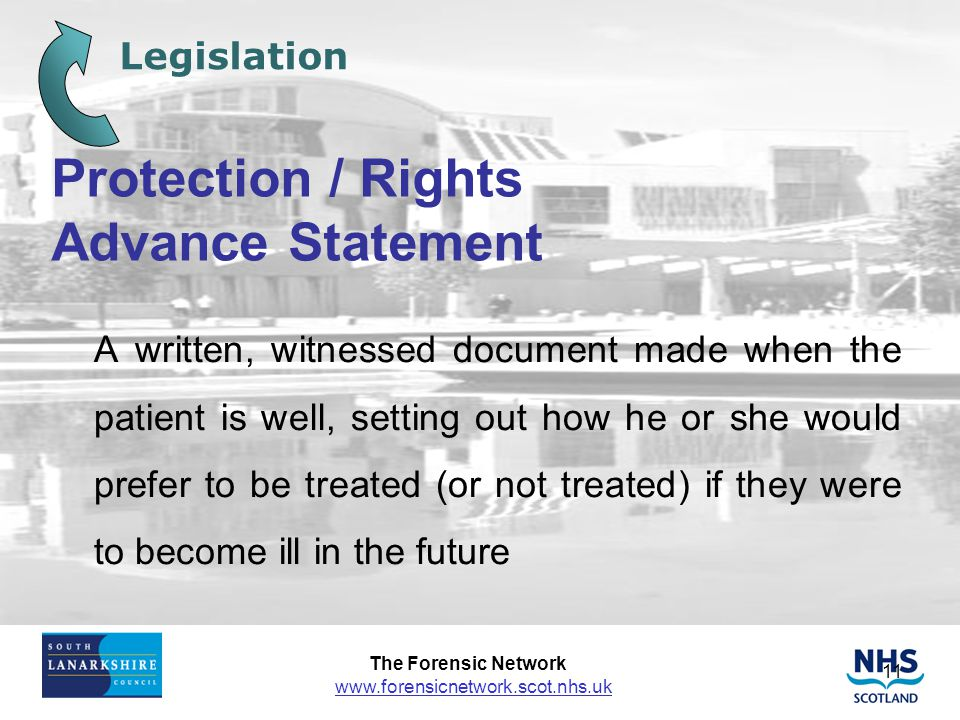 Protection / Rights Advance Statement