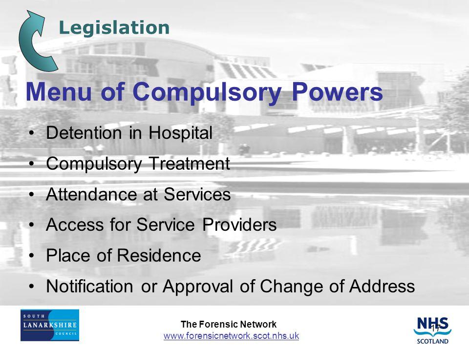 Menu of Compulsory Powers