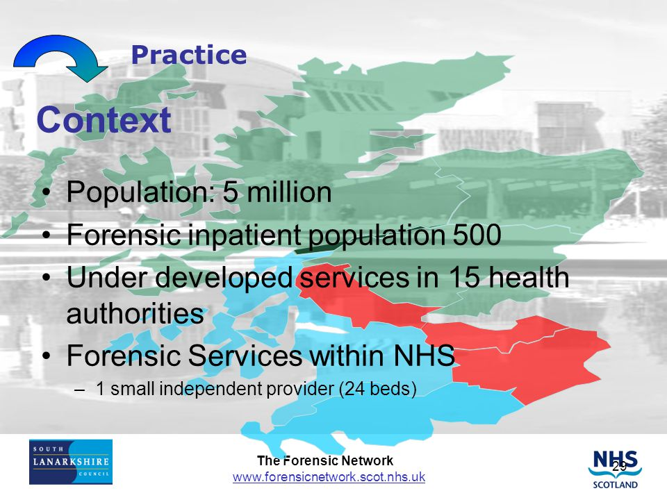 Context Population: 5 million Forensic inpatient population 500