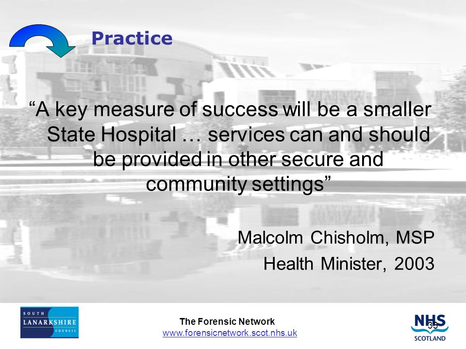 Practice A key measure of success will be a smaller State Hospital … services can and should be provided in other secure and community settings