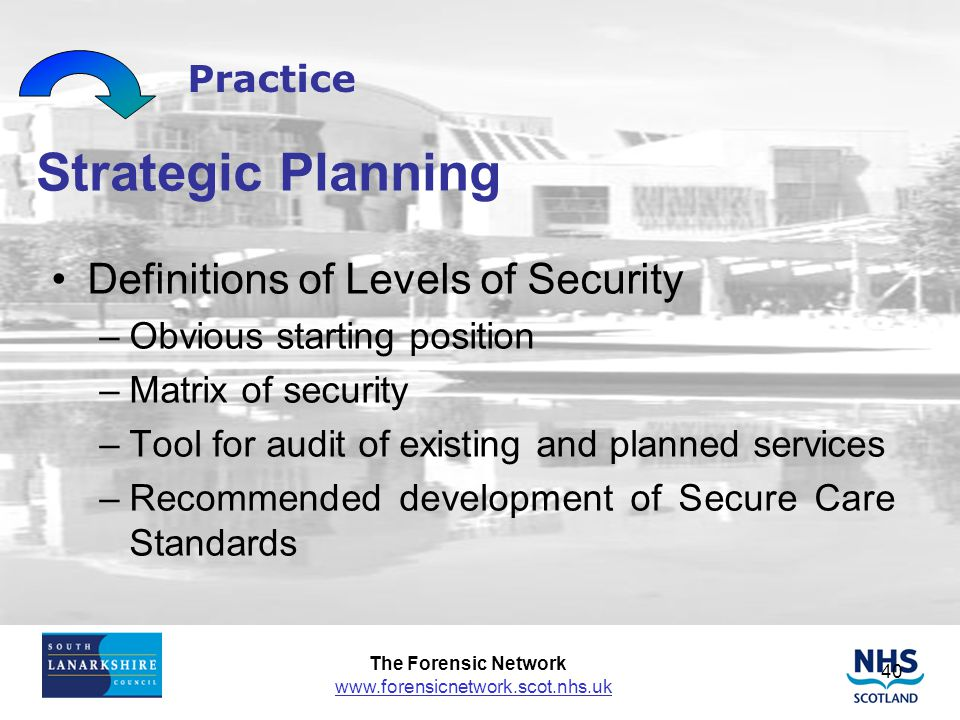 Strategic Planning Definitions of Levels of Security Practice