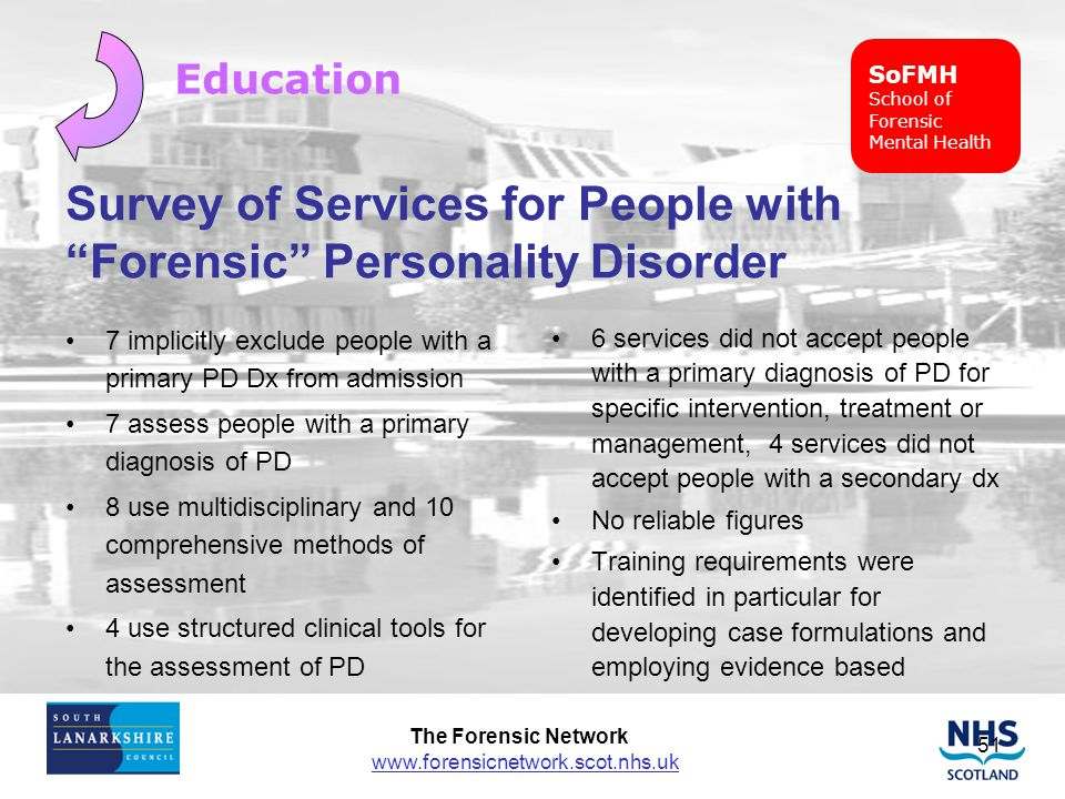 Survey of Services for People with Forensic Personality Disorder