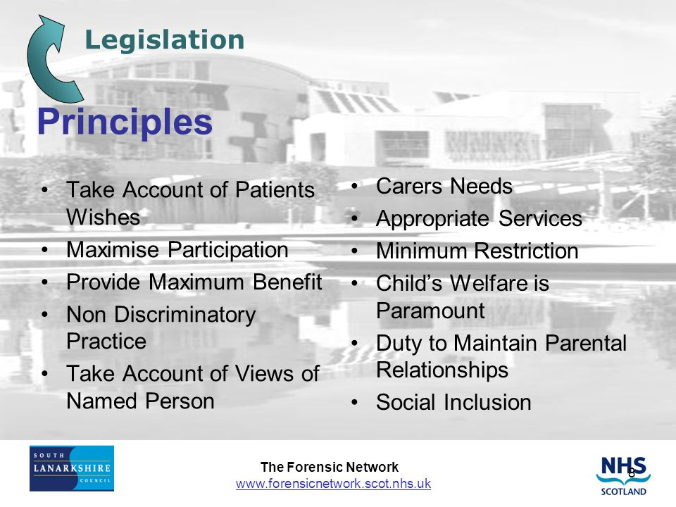 Principles Legislation Take Account of Patients Wishes Carers Needs