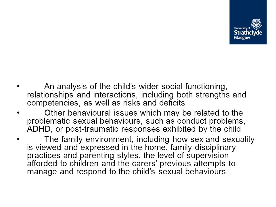 An analysis of the child's wider social functioning, relationships and interactions, including both strengths and competencies, as well as risks and deficits