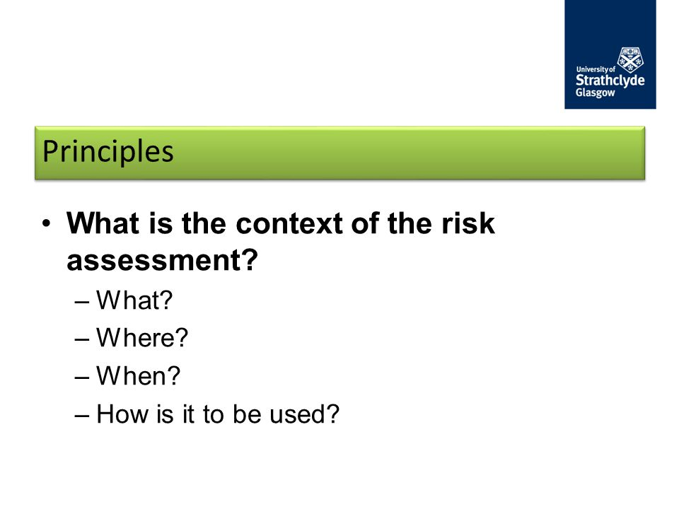 Principles What is the context of the risk assessment What Where
