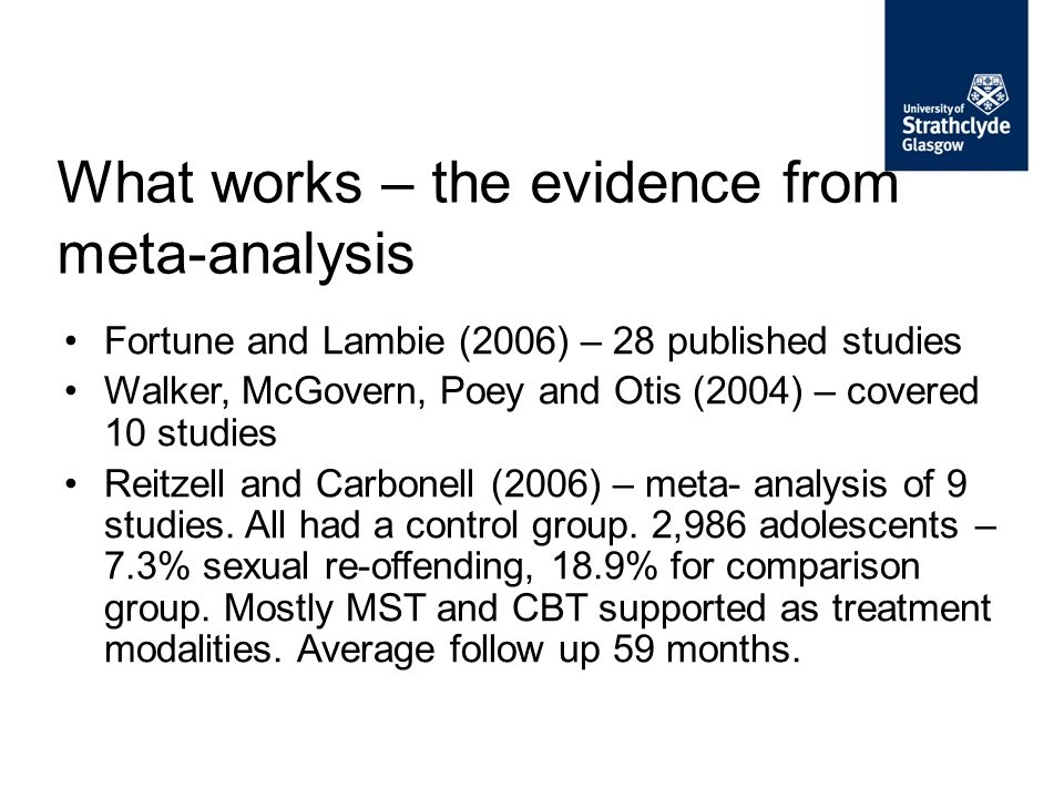 What works – the evidence from meta-analysis