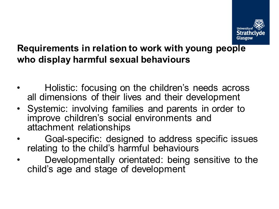 Requirements in relation to work with young people who display harmful sexual behaviours