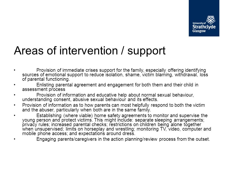 Areas of intervention / support