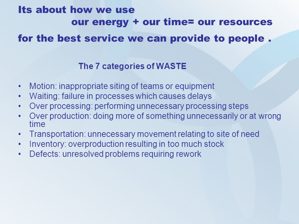 Its about how we use our energy + our time= our resources for the best service we can provide to people .