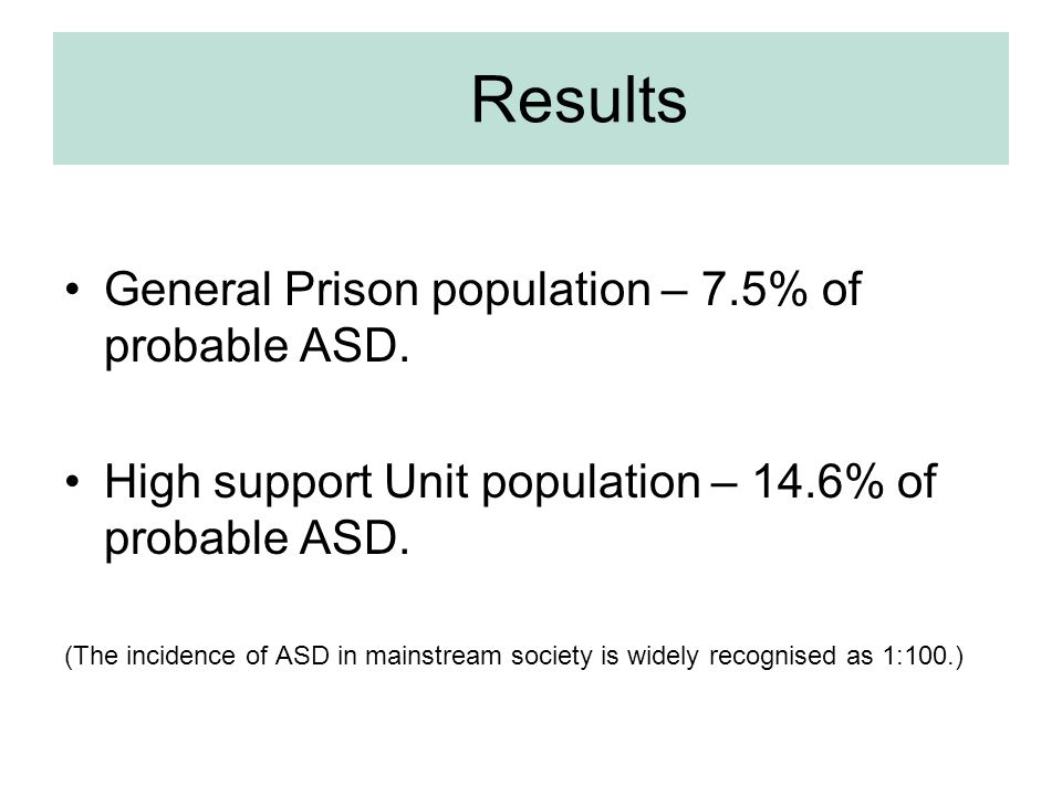 Results General Prison population – 7.5% of probable ASD.
