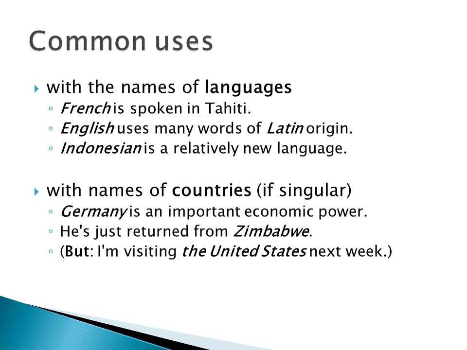 Common uses with the names of languages