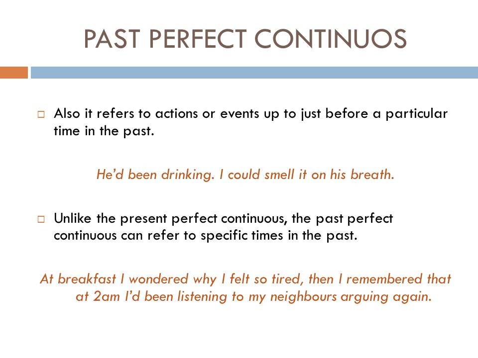 PAST PERFECT CONTINUOS