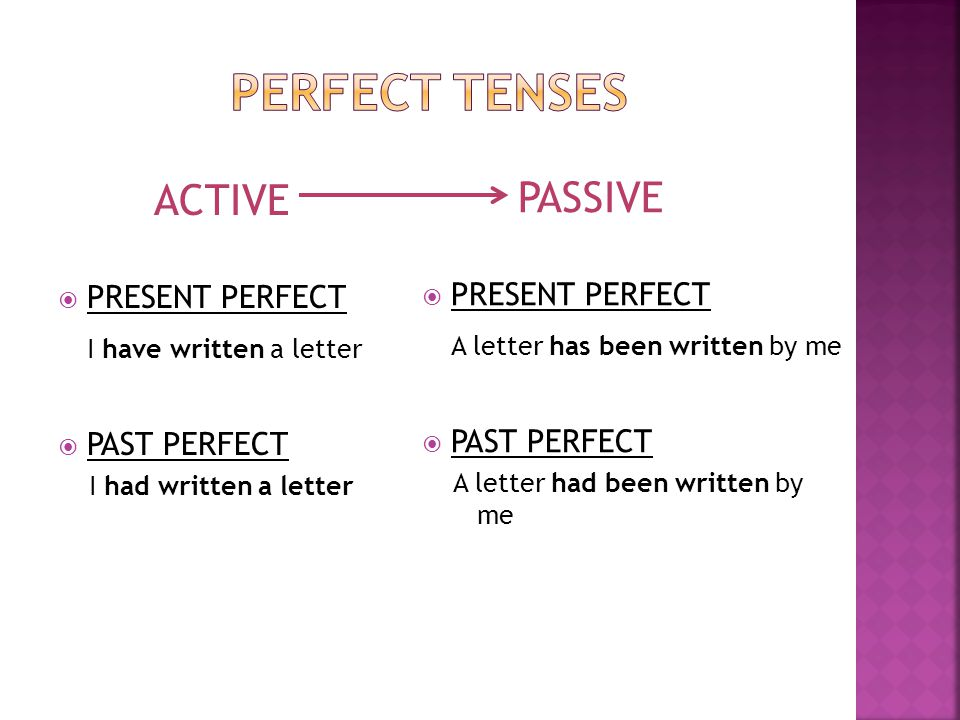 PERFECT TENSES ACTIVE PASSIVE I have written a letter
